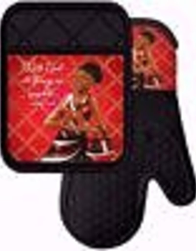 African American Expressions Red and Black Mitt-Pot Holder Set