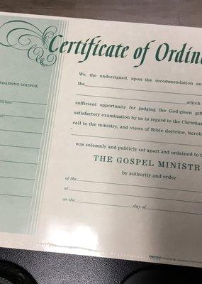 Broadman Certificate of Ordination Green Single