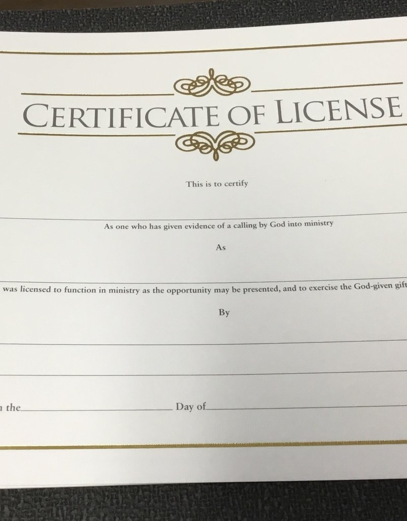 Certificate of License Gold Single