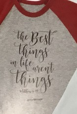 Grace & Truth T-Shirt - The Best Things - Women's Size Small Red/ Grey