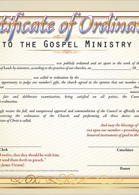 Certificate of Ordination to the Gospel Ministry