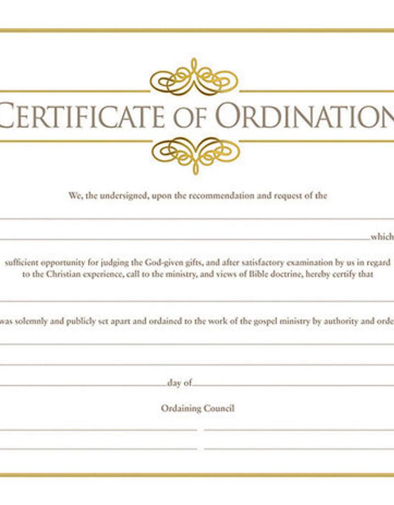 Certificate of Ordination Gold Single