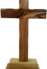 HolyRoses Olive Wood Standing Christian Cross Table Altar