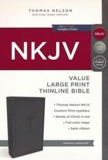 NKJV Value Thinline Bible Large Print, Imitation Leather, Charcoal