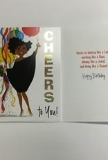 Card - Birthday Lady w/ Champagne & Balloon