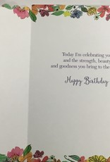 Card - Birthday Woman Face w/ Flowers