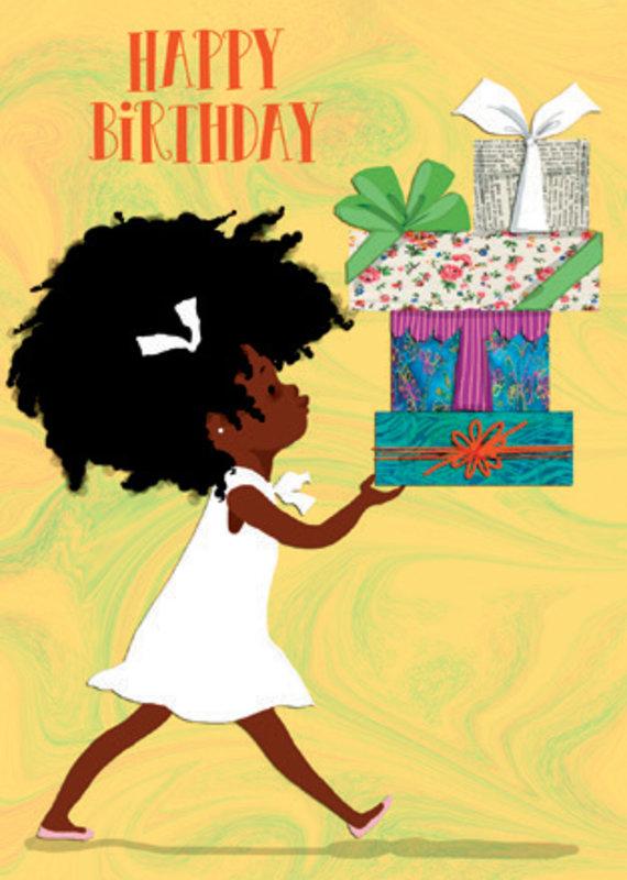 Birthday Card Little Girl Walking
