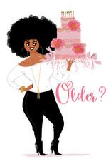Card - Birthday Woman Holding Pink Cake