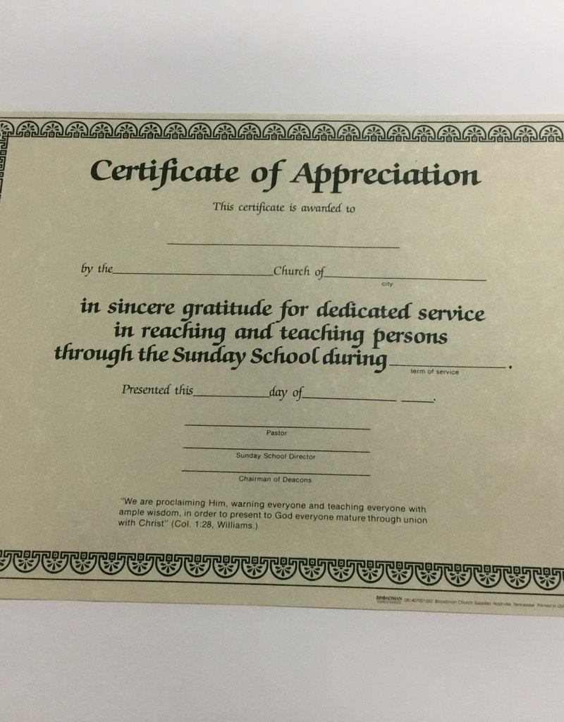 Certificate of Appreciation Sunday School Single