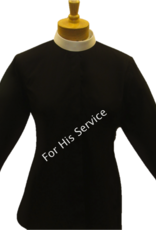 Clergy Shirt Women's Long Sleeve Banded Collar Black Size 24