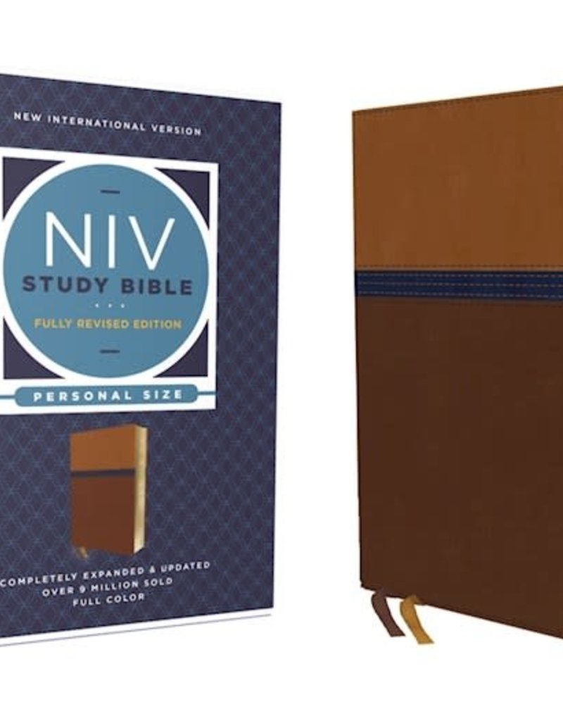 NIV Study Bible Personal Size Brown/Blue Leathersoft Indexed