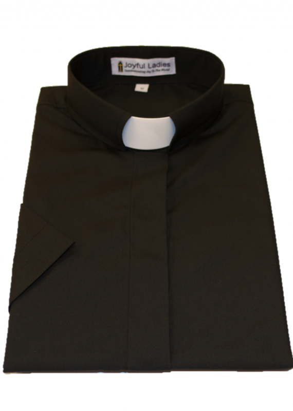 551.  Women's Short Sleeve Tab Collar Clergy Shirt Black 20