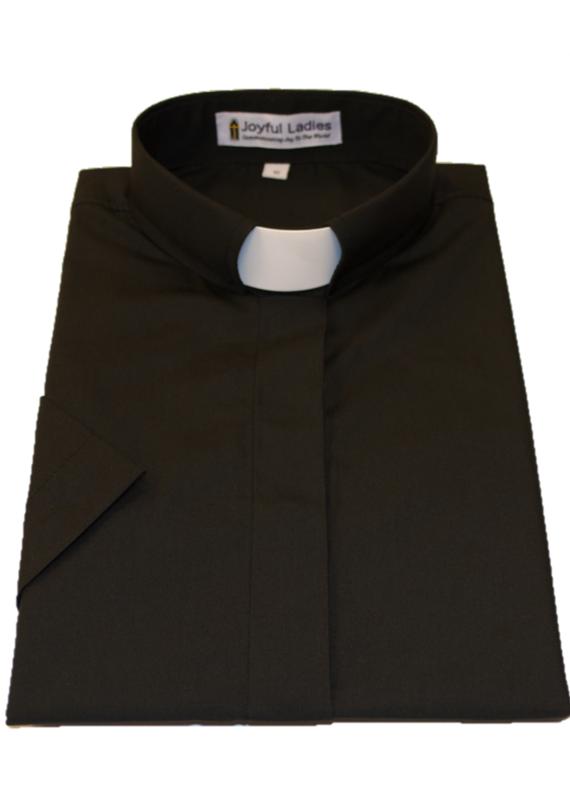 Women's Short Sleeve Tab Collar Clergy Shirt Black 20