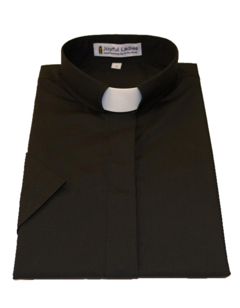 551.  Women's Short Sleeve Tab-Collar Clergy Shirt Black 20