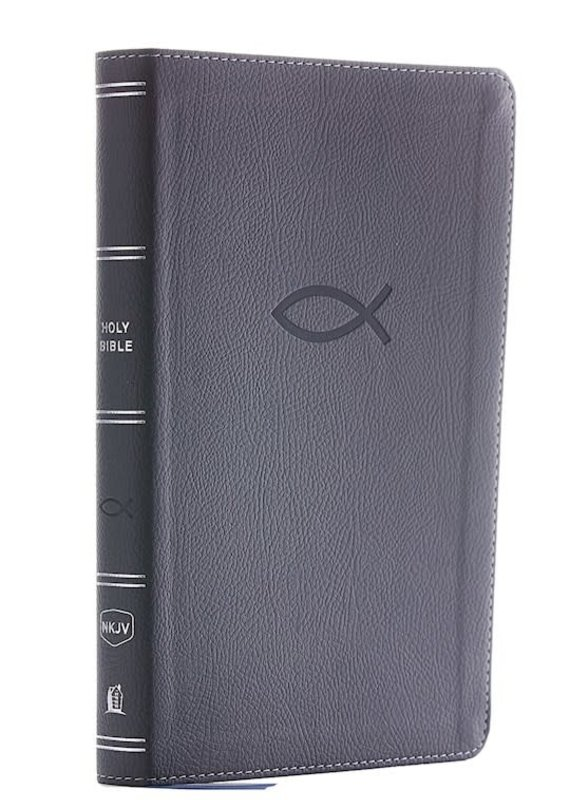 NKJV Thinline Bible Youth Edition (Comfort Print)-Gray Leathersoft