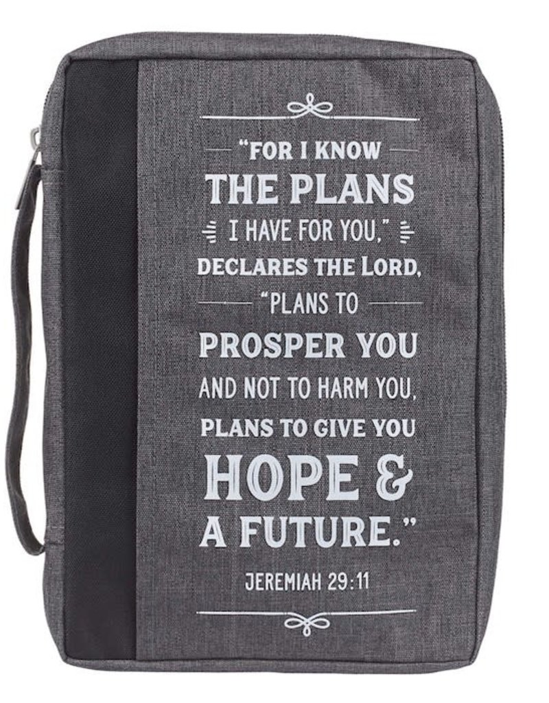 Bible Cover-Value-I Know The Plans-Large-Gray