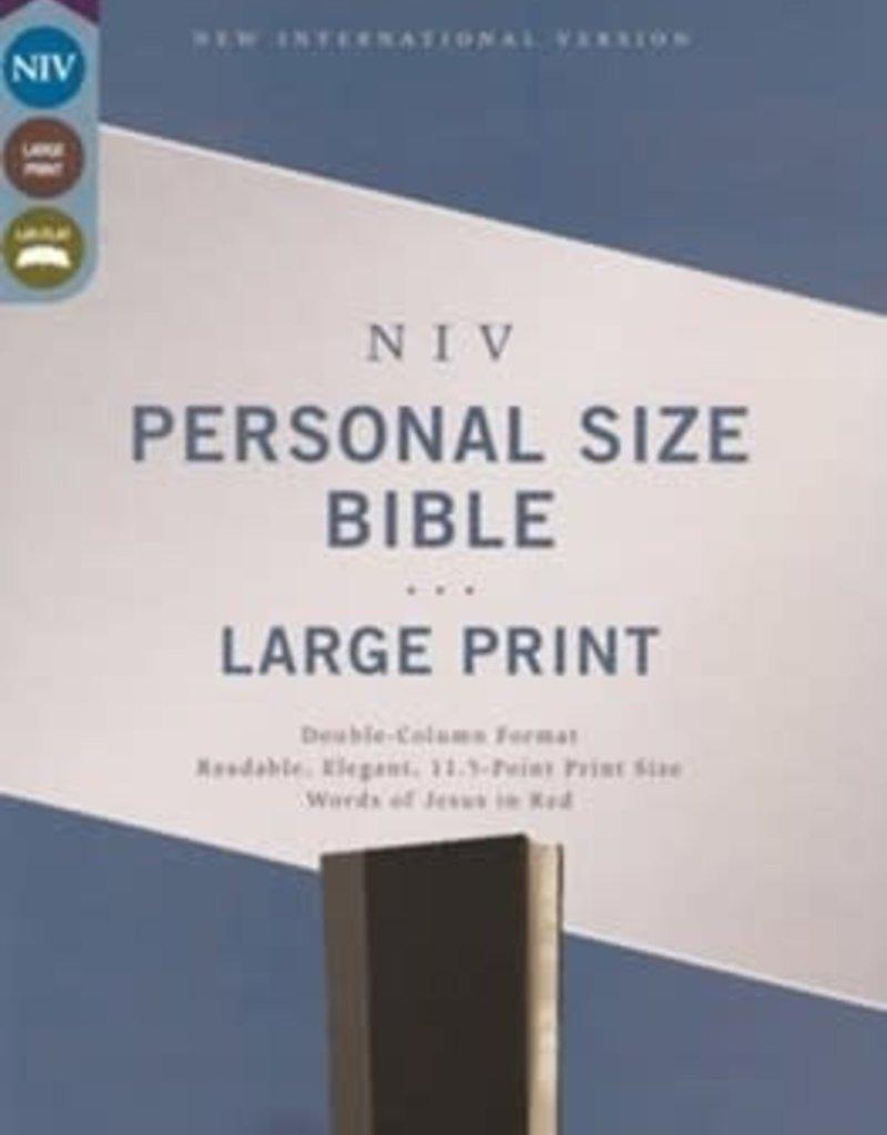 NIV Personal Size Large Print Bible (Comfort Print)-Black Leathersoft (Nov)