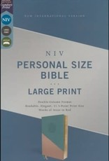 NIV Personal Size Large Print Bible Teal/Gold Leathersoft