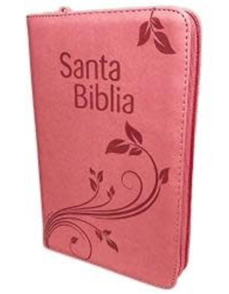 Biblia con Concordancia Letra Grande  Reina Valera 1960  Rosado Floral Indice Cierre