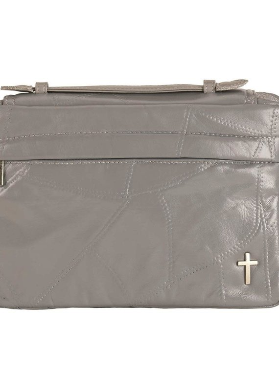 Bible Cover Grey Patchwork Large