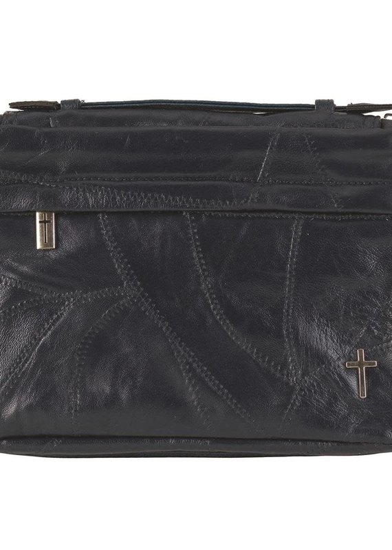 Bible Cover Patchwork Navy Leather