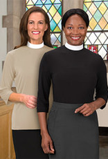 Clergy Shirt Women's Long Sleeve Banded Collar Black Size 22