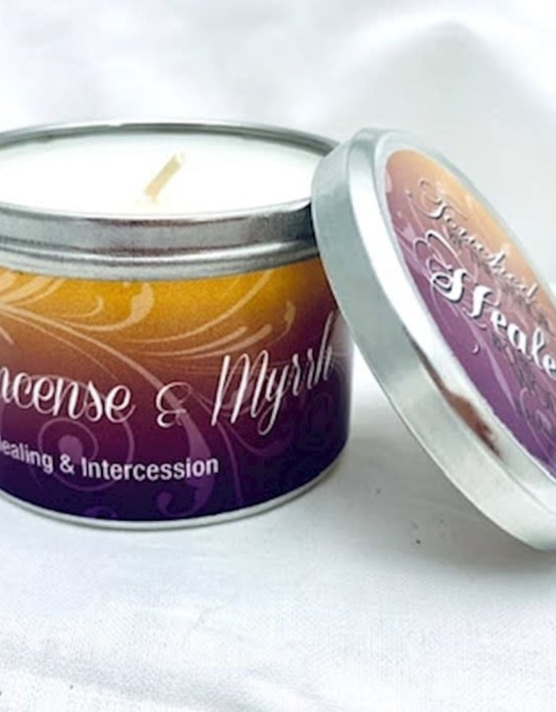 Candle-Frankincense & Myrrh w/Scripture Tin-6 Oz