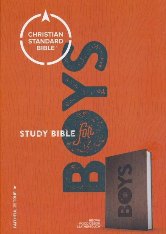 CSB Study Bible for Boys Brown, Wood Design LeatherTouch