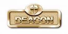 Brass Deacon Badge-Deacon with Cross-Magnetic Back-Brassn Badge with Cross