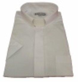 153. Men's Short-Sleeve Tab-Collar Clergy Shirt - White