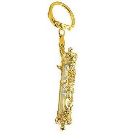 Mezuzah Key Chain With Parchment, Gold