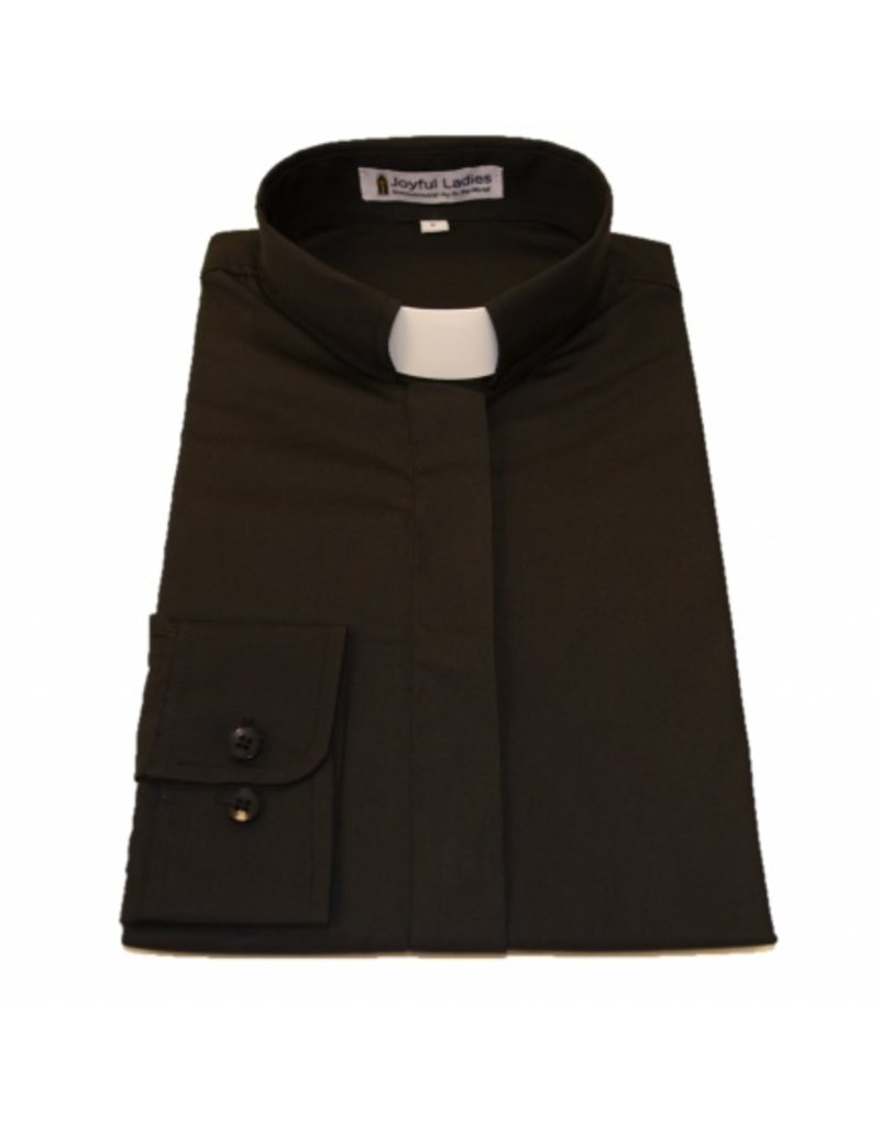 501 Women's Long Sleeve Tab-Collar Clergy Shirt Black 16