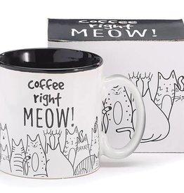 COFFEE RIGHT MEOW CERAMIC MUG W/BOX