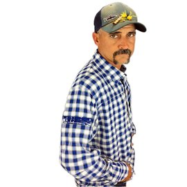 SIMMS Tight Lines Logo Simms Bugstopper Shirt - Admiral Blue Plaid-XXL