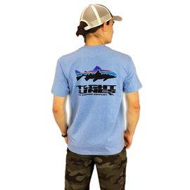 PATAGONIA T.L. Logo Fitz Roy Trout Responsibili-Tee - Railroad Blue