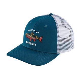 PATAGONIA World Trout Brook Fishstitch Trucker Hat Big Sur Blue ALL