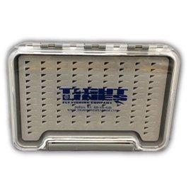 Thin Clear Fly Box W/ TEar Drop Foam Waterproof Box 5.35 x 3.75 x .6