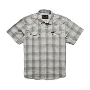 Howler Brothers H Bar B Tech Shirt Devils Plaid Cloudy Grey Green