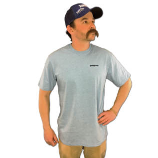 PATAGONIA Patagonia Fitz Roy Smallmouth Responsibili-Tee - Tight Lines Logo Break Up Blue