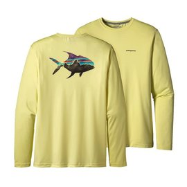 Patagonia Graphic Tech Fish Tee - Blazing Yellow Permit Medium