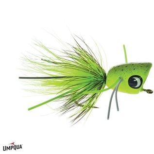 Bass Popper w/ Legs Chartreuse Splatter 6