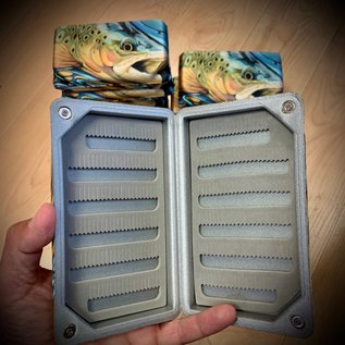 Trout pattern Lycra EVA boxes  Large 6 1/4 x 3 3/4 x 1 1/4""