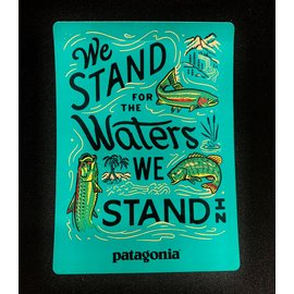 "Patagonia waters we stand in sticker 5"" X 3.5"""