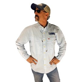 Tight Lines Logo SIMMS Guide Shirt - Light Blue