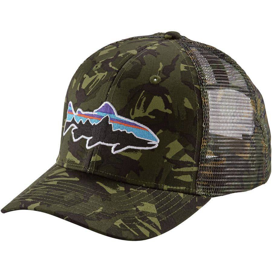 a4f9bc7540 PATAGONIA Patagonia Tight Lines Fitzroy Trout Trucker Hat Mid Crown Big  Camo Fatigue Green ...
