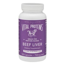 Vital Proteins Beef Liver Grass fed pasture raised 750mg 120caps