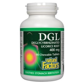Natural Factors DGL Chewable Tablets 400 mg 10:1 Extract Deglycyrrhizinated Licorice Root Extract 90/TAB