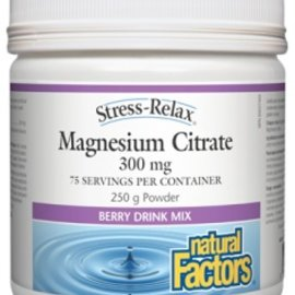 Natural Factors Magnesium Citrate 250g 300mg berry drink mix
