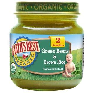 Earth's best organic green beans & brown rice 6+months 128ml