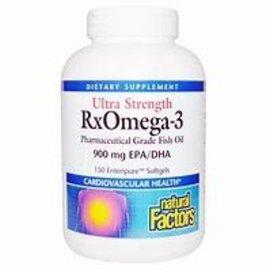 Natural Factors Ultra Strength RxOmega-3 EPA / DHA 900 mg w/ Vitamin D3 Enteripure 150/SG